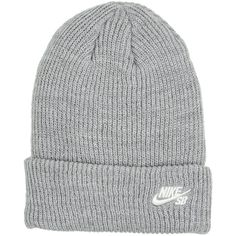 9d2cf0033a0 Nike Skateboarding Logo Beanie Dk Grey Heather (sail) ( 25) ❤ liked on  Polyvore featuring accessories