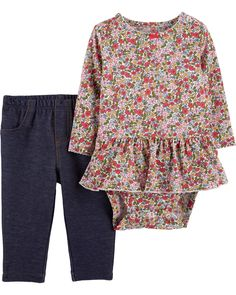 Complete with a floral, peplum bodysuit and coordinating camo pants, this 2-piece set takes her from nap time to playtime with ease!