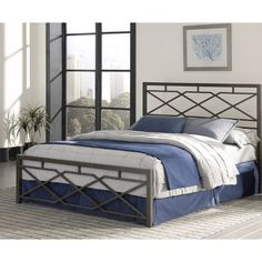"Bedroom Furniture -- Alpine Snap Bed by Leggett & Platt features modern, geometric detailing in a Rustic Pewter hand finishing on both the headboard and footboard offering a truly unique distinctive design. This bed has been designed to literally ""SNAP"" together for quick and easy assembly."