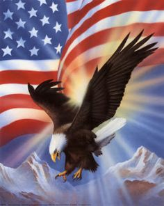 Fourth of July-Eagle and flag
