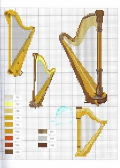 Harps free cross stitch patterns