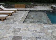 """since you have """"rustic"""" pavers, how about a smooth grey/marble/travertine tile around pool. Outdoor Tiles, Outdoor Flooring, Pool Pavers, Paver Sand, Paver Stones, Travertine Pavers, Granite Paving, Bluestone Pavers, Wooden Patios"""