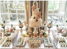 Dessert bar wedding - One of the dreamiest places we have the pleasure of working in is couturecuisine! We created this table for an incredibly sweet couple on the long weekend, and also got to work with one o Dessert Bar Wedding, Bridal Shower Desserts, Wedding Sweets, Bridal Shower Decorations, Wedding Table, Wedding Decorations, Candy Bar Wedding, Wedding Ideas, Bridal Shower Treats