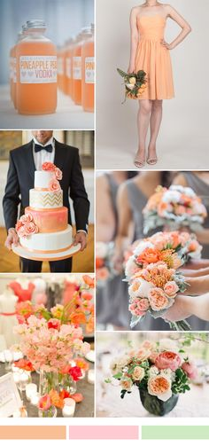 peach orange wedding color ideas and bridesmaid dresses for fall wedding 2015 autumn wedding colors / wedding in fall / fall wedding color ideas / fall wedding party / april wedding ideas Lilac Bridesmaid Gowns, Bridesmaid Dress Styles, Bridesmaid Color, Orange Wedding Themes, Fall Wedding Colors, Wedding Orange, Burgundy Wedding, Autumn Wedding, Wedding Color Combinations