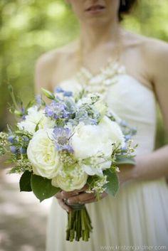 Blue Scabiosa, Blue Delphinium, White Peonies, Ivory English Garden Roses, White Wax Flower, & Green Lamb's Ear