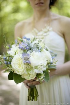 Blue Scabiosa, Blue Delphinium, White Peonies, Ivory English Garden Roses, White Wax Flower, & Green Lamb's Ear