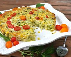 Zucchini Timbale with Cheese, a crustless zucchini pie, perfect for Meatless Monday or a weekend breakfast. Vegetarian, Low Carb, Weight Watchers PointsPlus 4. Recipe, tips, nutrition @ AVeggieVenture.com.