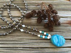 Mala Beads With Colors Like The Ocean 108 by TrueNatureJewelry