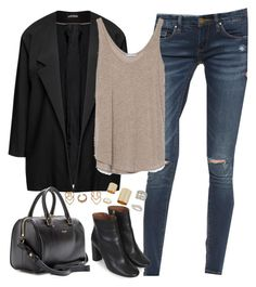 """""""Sans titre #778"""" by camillet98 ❤ liked on Polyvore featuring Blank Denim, Samoon, Zara, Topshop, Yves Saint Laurent and Boohoo"""