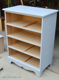 Dresser to Shelf conversion, using chalk paint. I would need to add plywood or something to strengthen the shelves.