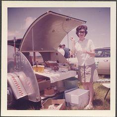 1960s teardrop travel trailer picnic barbecue camper silver