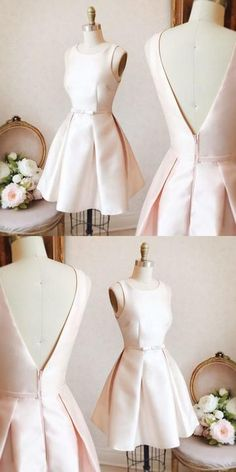 Prom Dresses Elegant, Cute Homecoming Dress A-line Scoop Bowknot Pearl Pink Short Prom Dress Party Dress, Mermaid prom dresses, two piece prom gowns, sequin prom dresses & you name it - our 2020 prom collection has everything you need! Cute Homecoming Dresses, A Line Prom Dresses, Grad Dresses, Prom Party Dresses, Dress Party, Wedding Dresses, Bridal Gowns, Dresses Elegant, Simple Dresses