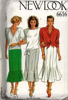 New Look 6616 1980s Gored Skirts Vintage Sewing Pattern Sizes 8 - 18 UNCUT  Factory Folded. Gored SkirtSundress ... 67e3d5589
