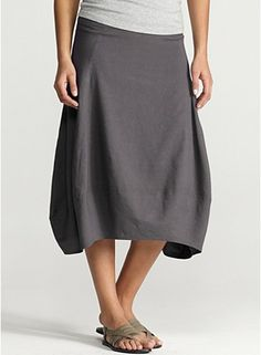 Am I old now??? Eileen Fisher = Comfort! Calf-Length Lantern Skirt in Linen Viscose Stretch