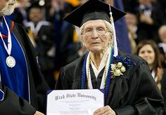 Twila Boston - This 98-year-old finally received her degree in 2012, making her the oldest graduate on record at Utah State University.