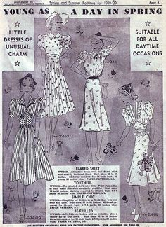 Australian Women's Weekly Spring & Summer Fashions for 1938-39.