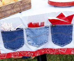 Make extra space on the table by creating denim pocket table runner - 20 Amazing DIY Denim Ideas