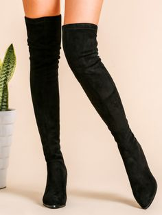 Black Faux Suede Point Toe Back Zipper Thigh High Chunky Boots
