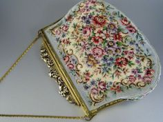 Vintage Petit Point Purse Kid Leather Lining Sky Blue Floral