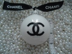 """NEXT TWO DAYS DEC 5TH AND 6TH.  TAKE 15% OFF ALL ORDERS OVER $25.00  USE CODE """"DISCOUNT FUN """"AT CHECKOUT.  CHANEL INSPIRED SHINY PEARL GLASS CHRISTMAS TREE ORNAMENT WITH CHANEL RIBBON LARGE"""