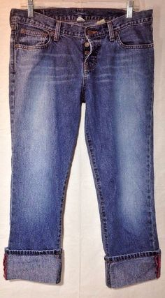Womens ABERCROMBIE FITCH Jeans 6R A&F Straight Buttonfly CROPPED & CUFFED DENIM  #AbercrombieFitch #BoyfriendCapriCroppedStraightLeg