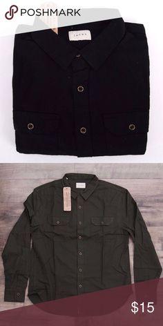NWT JACHs Mens Black Shirt Sz L NWT JACHs Mens Button Down 2 Pocket Solid  100 5664337f9167a