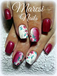 Beautiful flower nail art, Red nail art, Ombre nail