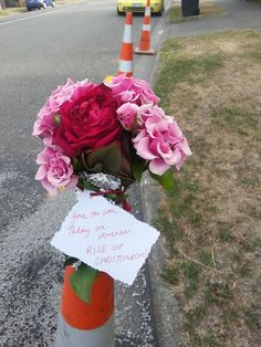Road cones have become the symbol of disruption caused by natural disasters & on the anniversary of the 2011 Christchurch earthquake that devastated the city, flowers have been placed in road cones all around the city in commemoration.