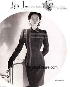 Couture Allure Vintage Fashion: 1951 Lilli Ann Suit