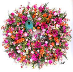 Spring Wreath-Wildflower by SeasonalWreaths on Etsy