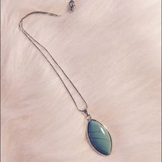 "•Turquoise teardrop stone necklace• Such a beautiful pendant necklace with a cracked design in the stone. Attached to a sturdy silver rope chain. Measures 19"" long including the sizing links. Lobster claw clasp.   •6 available•  •PLEASE DO NOT PURCHASE THIS LISTING. I WILL SET UP A BRAND NEW LISTING JUST FOR YOU•   •Receive a free gift and scratch-off coupon with purchase!• Jewelry Necklaces"