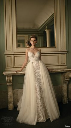 berta fall 2016 bridal strapless sweetheart neckline lace embroidered sheath wedding dress a  line ball gown over skirt
