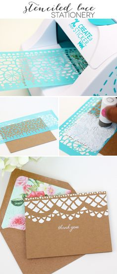 Easy DIY Stenciled Lace Stationery with @Martha Stewart Cathedral Lace Stencil & @Xyron Inc. Inc. repositional adhesive | Damask Love