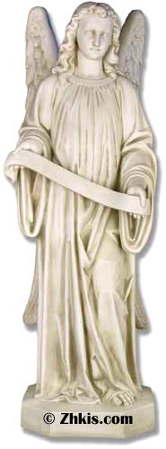 Large Angel statue with seal or ribbon one in a set of two left and right Angels. Made from durable fiberglass and designed for indoor or outdoor use several finish options available for this statue.