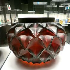 Rene Lalique vase anguedoc 1929 mold-blown glass and acid-etched | As seen at the Corning museum of glass