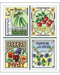 I realize this isn't the folk art style I usually favor, but I love it anyway.  I guess that's because I love seeds and seed packets.