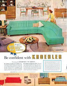 Kroehler Furniture advertisement - Want this turquoise sofa! Kroehler Furniture advertisement - Want this turquoise sofa! Patio Furniture Redo, Small Bedroom Furniture, Gothic Furniture, Furniture Ads, Smart Furniture, Furniture Makeover, Furniture Design, Furniture Stores, Modern Furniture