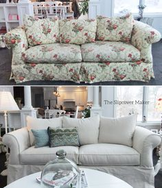 Superior A Natural Denim Slipcover Updates This Floral Sofa Beautifully. Fabric: 12  Oz. Cotton
