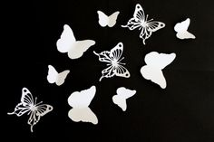 White Butterfly Wall Art Paper butterflies White by MyDreamDecors
