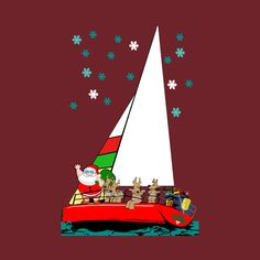 70411b5a8 Christmas Sailing and Boating t-shirts Santa sailing with his reindeer is a  funny nautical Christmas gift for anyone