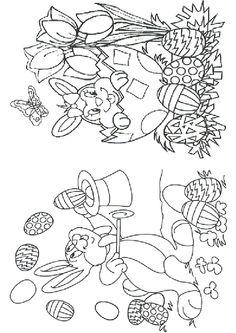 Coloriage d'un lapin magicien faisant une démonstration et d'une lapine dans une coquille