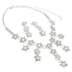 #jewelry Silver Crystal Rhinestone 3 Stars and Rings Drop Earrings & Multi Stars and Rings Necklace Jewelry Set