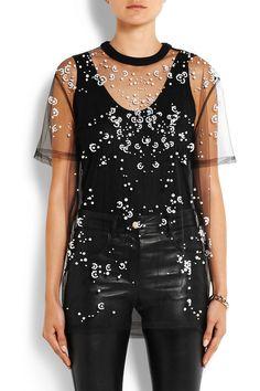 Givenchy|Haut en tulle noir orné de perles synthétiques |NET-A-PORTER.COM