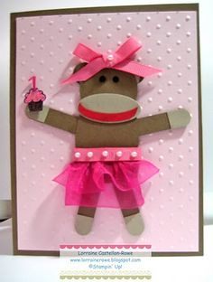 sock monkey ballerina punch art - bjl
