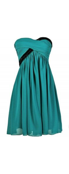Beaded Bliss Embellished Dress in Turquoise/Black  www.lilyboutique.com