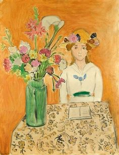 Girl in White with a Bouquet, 1919 ~ Henri Matisse ~ (French: 1869-1954)