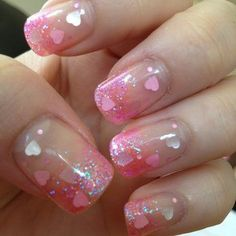 Pink glitter calgel with heart holograms for Valentine's Day! | Yelp