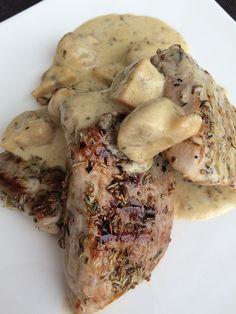 Champignonroomsaus met varkensfilet