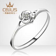 Palladium 3-4 points diamond ring wedding ring roses paragraph