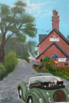 Oil on paper. Countryside English Pub